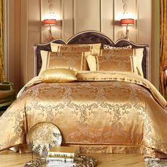 Quality Gold Satin Silk Embroidery Jacquard Bedding Set comforter duvet cover,sabanas bed linen/housse de couette home textile bed sheet with free worldwide shipping on AliExpress Mobile Queen Size Bedspread, Queen Bedding Sets, Luxury Bedding Sets, Cheap Bedding Sets, Cheap Bed Sheets, Bedding Sets Online, Where To Buy Bedding, Bed Sets For Sale, Stores