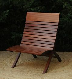 Mahogany Indoor Outdoor Barcelona Chair by Kevin Kopil