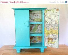 SALE Vintage Nautical Cabinet Turquoise Key by twocheekychicks, $93.00