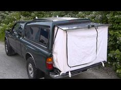 Tent End For A Pickup Truck. Just the thing to make a short bed long enough to sleep in whilst keeping bugs out! Truck Bed Trailer, Truck Bed Tent, Rv Truck, Pickup Trucks, Pickup Camping, Truck Bed Camping, Tent Camping, Short Bed Truck Camper, Tailgate Tent