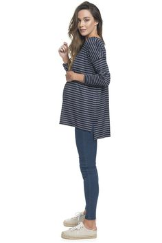 Stripe Long Sleeve Maternity Top by BAE The Label | 'Gigi Top'