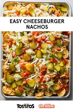 If nachos and a cheeseburger had a baby, this recipe would be it. Featuring #Tostitos Bite Size Rounds and lots of cheese. This recipe was developed by Eddie Sanchez and Thrillist. Think Food, I Love Food, Good Food, Yummy Food, Mexican Food Recipes, Beef Recipes, Cooking Recipes, Healthy Recipes, Healthy Meals