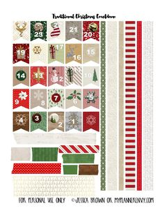 Traditional Christmas Countdown Banner Flags and Washi