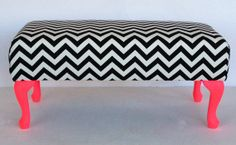 #17BestRoomEver.  Chevron ottoman for the end of the bed black and white with hot pink accent! Ties in well with the theme!