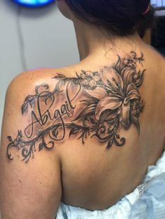 Tattoos for women Floral Back Tattoos, Flower Thigh Tattoos, Tattoos For Women Flowers, Beautiful Flower Tattoos, Flower Tattoo Shoulder, Dope Tattoos, Hand Tattoos, Body Art Tattoos, Shoulder Tattoos For Women