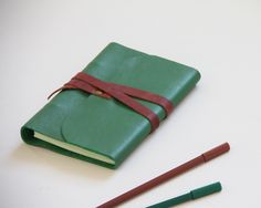 Green leather notebook A6