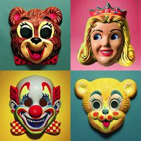 Halloween masks. Hard to see out of them. Hard to breathe. Made your face get all sweaty. I remember them well.