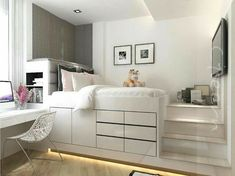 40 Creative Bedroom Ideas For Your Tiny Apartment To Try is part of Dream rooms - In their desire to save money, newlywed couples usually prefer to live first in small apartments especially if they still […] Teenage Bedroom Ideas Ikea, Bedroom Storage Ideas For Clothes, Bedroom Storage For Small Rooms, Bedroom Small, Tiny Girls Bedroom, Small Teen Room, Space Saving Bedroom, Single Bedroom, Double Bedroom
