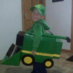Clever combine costume for a young John Deere fan