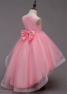 Magbridal In Stock Delicate Tulle & Lace Jewel Neckline Hi-lo Ball Gown Flower Girl Dress With Lace Appliques & Beadings African Dresses For Kids, Girls Party Dress, Little Girl Dresses, Girls Dresses, Baby Dress Design, Baby Girl Dress Patterns, Ball Dresses, Cute Dresses, Ball Gowns