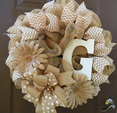 burlap deco mesh personalized daisy neutral wreath by sheree Burlap Crafts, Wreath Crafts, Diy Wreath, Wreath Ideas, Deco Mesh Wreaths, Holiday Wreaths, Burlap Wreaths, Burlap Ribbon, Monogram Wreath