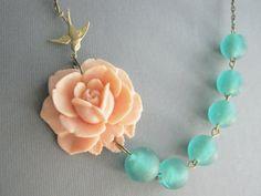 Statement NecklacePeach JewelryTeal JewelryBridesmaid by RachelleD
