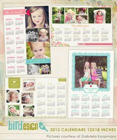 INSTANT DOWNLOAD 2013 Calendar photoshop templates por birdesign