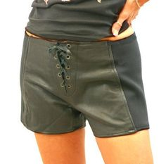 Biker Babes Leather Shorts Front Lace with Spandex Sides