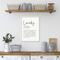 Excited to share the latest addition to my #etsy shop: Laundry Definition Printable in 8 x 10 and 12 x 16 Digital File - Laundry Wall Decor in black and white - Laundry Dictionary Typography Utility Room, Farmhouse Wall Art, House Warming Gifts, Art Decor, Farmhouse Wall, Kitchen Art, Bathroom Art, Art Room, Colorful Prints