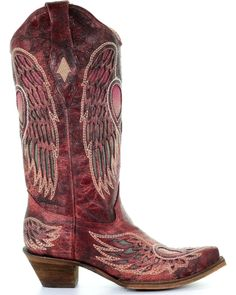 Corral Boots Kids Girl Leather Wing /& Cross Brown Gold Cowgirl