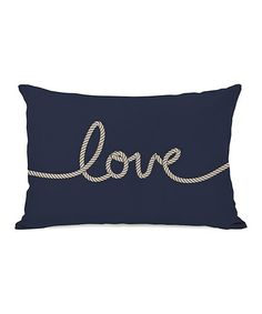 This Navy & Tan 'Love' Rope Throw Pillow is perfect! #zulilyfinds