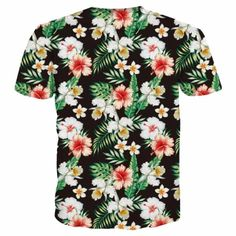 BLACK FLORAL T-SHIRT  Dark shirt with white and red flowers, greenery. Flower lovers, loud shirts. Express yourself, make a scene, funny shirts.