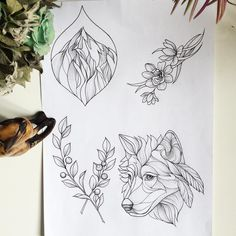 #sketch #tattoo #wolf #свободный #эскиз