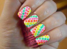 Neon Dot Nails.
