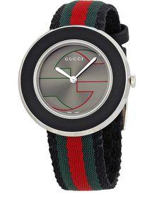 b90b34ef0b1 Gucci U-Play YA129444 Grey Dial Tri-Color Nylon Band Women s Watch Gucci  Watch