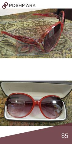 NEW Listing> Rose Colored Designer Look Sunglasses NEW - Small bow with gold accent rose colored sunglasses. Cute colorful clip on sunglass holder included as gift with purchase. Dot or chevron design. Great bundle item. Accessories Sunglasses