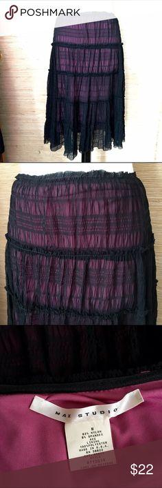 Black Mesh Stretch Skirt Fun skirt! Black mesh over hot pink liner. Thin elastic waist. Runs a little big. Very good condition. Max Studio Skirts