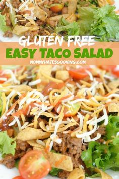 Get ready to make an Easy Taco Salad that is also easy to make into a Gluten-Free Taco Salad too! This salad recipe is a go-to for a prep-ahead salad or one for dinner! - Make a super easy Gluten-Free Easy Taco Salad! Salad Recipes For Dinner, Gluten Free Recipes For Dinner, Easy Salad Recipes, Dinner Salads, Gluten Free Cooking, Beef Recipes, Healthy Recipes, Gluten Free Dinners Easy, Crockpot Recipes Gluten Free