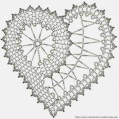 Ideas Crochet Heart Doily Pattern For 2019 Crochet Diagram, Freeform Crochet, Crochet Chart, Thread Crochet, Crochet Motif, Crochet Doilies, Crochet Flowers, Crochet Lace, Irish Crochet