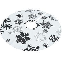 Black & White Snowflakes Brushed Polyester Tree Skirt #christmas #treeskirts #xmas #tree