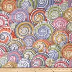 Kaffe Fassett Spiral Shells Grey from @fabricdotcom  Designed by Kaffe Fassett for Westminster, this cotton print fabric is perfect for quilting, apparel and home decor accents. Colors include orange, peach, yellow, white, shades of grey, shades of brown, shades of pink, shades of blue, and shades of green.
