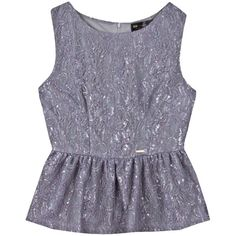 Lace metallic peplum top ($66) ❤ liked on Polyvore
