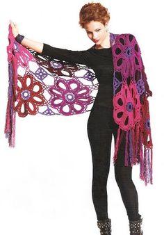Extra large circle crochet motif wrap