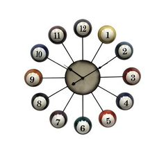 StyleCraft Home Collection WC2056DS Pool Cue Ball Clock