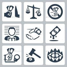 Corruption Related Icon Set (JPG Image, Vector EPS, CS, banknote, bill, blackmail, bribe, bribery, business, cash, concept, corrupt, corrupted, corruption, criminal, currency, deal, dirty, dollar, give, giving, hand, illegal, illustration, law, man, money, no, pay, payment, person, sign, vector)