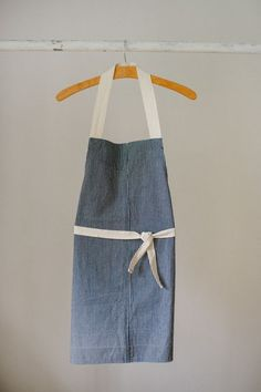 simple stripe apron made from repurposed material.27 L x 20 W