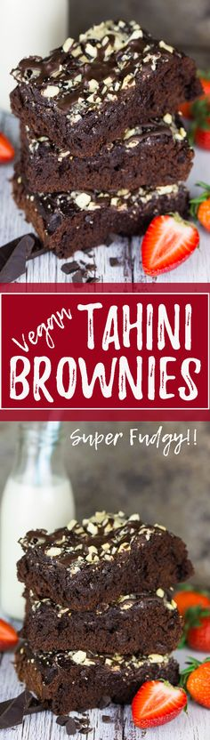 These vegan brownies with tahini are my new favorite! They're incredibly fudgy, moist, and SO chocolatey.  The tahini doesn't only add a lot of nutrients, it also gives them an awesome texture and taste! Chocolate heaven, here I come!!