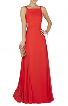 f2c3542a986  198.00 BCBGMAXAZRIA BRIELLE CUT OUT PLEATED GOWN RED Red Gowns