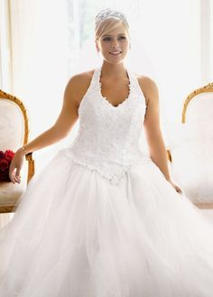 Tulle Ballgown with Satin Beaded Halter Bodice - David's Bridal- mobile