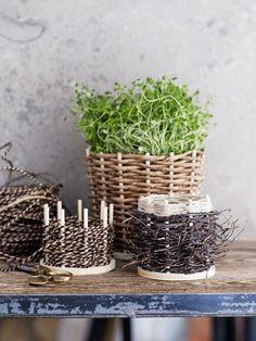 Punontaa luonnonmateriaaleista - tee kasveille koristeruukut risuista ja naruista.