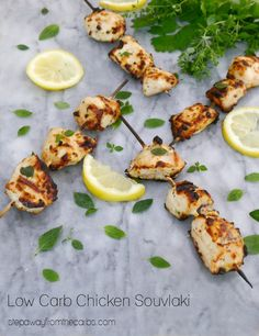 Chicken Souvlaki is a wonderful Greek dish with great seasonings that is perfect for cooking on the grill. Low carb and keto recipe. Low Carb Summer Recipes, Best Low Carb Recipes, Low Carb Chicken Recipes, Low Carb Dinner Recipes, Healthy Eating Recipes, Healthy Cooking, Real Food Recipes, Keto Recipes, Turkey Recipes