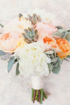 Peony   succulent bouquet, love the peach and orange / coral tones with the grey greens, less greens though and more small buds paired with the large flowers.
