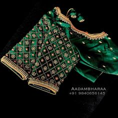 Beautiful Bottle green color bridal blouse with floral design hand embroidery work. 23 November 2018 Beautiful Bottle green color bridal blouse with floral design hand embroidery work. Cutwork Blouse Designs, Wedding Saree Blouse Designs, Simple Blouse Designs, Stylish Blouse Design, Blouse Neck Designs, Wedding Silk Saree, Sleeve Designs, Dress Designs, Saris