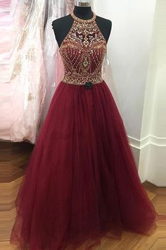 Tulle Burgundy Sexy Evening Dress, Backless Long Prom
