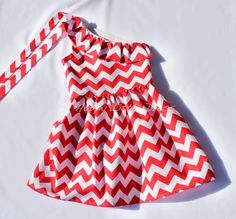 Girls Dress. Red Chevron One Shoulder Ruffle by HappyLittleDress, $42.00
