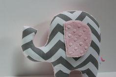 Modern pink gray nursery Elephant pillow decor - grey chevron - minky. $28.00, via Etsy.
