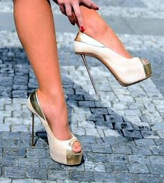 Metallic thin stilettos