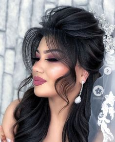Bride Makeup, Wedding Hair And Makeup, Glam Makeup, Pretty Makeup, Hair Makeup, Wedding Hairstyles Half Up Half Down, Wedding Hairstyles For Long Hair, Bridal Hairstyle, Open Hairstyles
