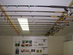 Garage Storage Solutions Organizing Ideas and Garage Cabinets Layout. Fishing Pole Storage, Fishing Pole Holder, Fishing Rods, Fishing Lures, Fly Fishing, Catfish Fishing, Fishing Stuff, Salmon Fishing, Going Fishing
