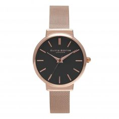 HACKNEY BLACK DIAL & ROSE GOLD MESH